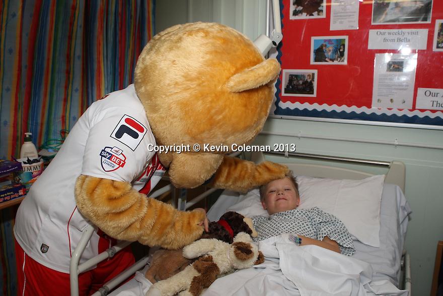Borobear<br /> Stevenage FC players visit Lister Hospital Children's ward.  <br />  - Lister Hospital, Stevenage - 18th December, 2013<br />  © Kevin Coleman 2013