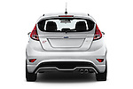 Straight rear view of a 2015 Ford Fiesta St MT 2Wd 5 Door Hatchback 2WD Rear View  stock images