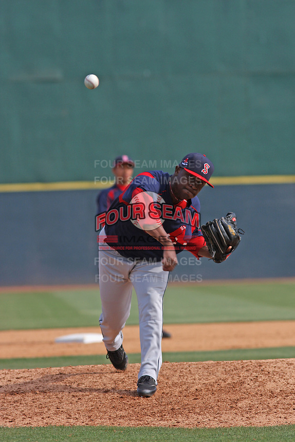 Right-hander relief pitcher Jason Rice of the Salem Red Sox pitching during a game against  the Myrtle Beach Pelicans on May 3, 2009