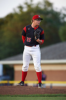 Batavia Muckdogs relief pitcher RJ Peace (25) looks in for the sign during a game against the Lowell Spinners on July 11, 2017 at Dwyer Stadium in Batavia, New York.  Lowell defeated Batavia 5-2.  (Mike Janes/Four Seam Images)