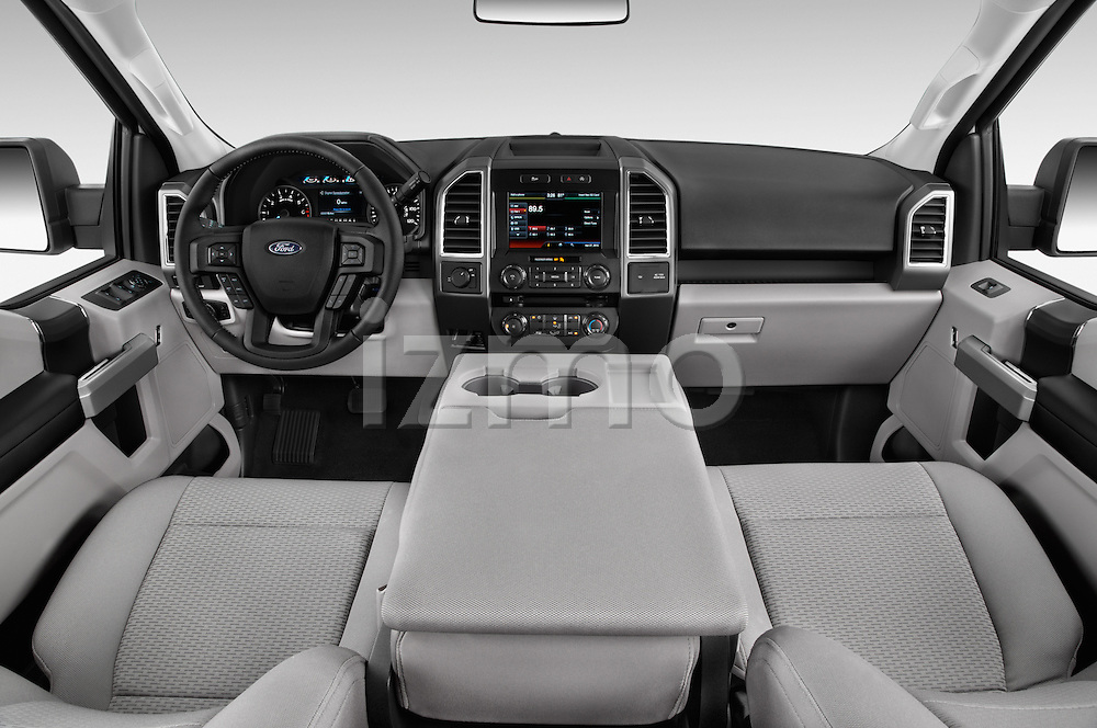 Stock photo of straight dashboard view of a 2015 Ford F 150 Xlt 4X2 Ecoboost 5 Door Trucks
