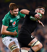 17 November 2018; Kieran Read of New Zealand in action against Iain Henderson of Ireland during the Guinness Series International match between Ireland and New Zealand at the Aviva Stadium in Dublin. Photo by Ramsey Cardy/Sportsfile