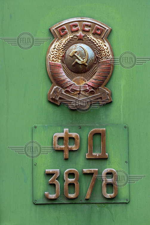 CCCP insignia and number of the private train carriage of Josef Stalin - who was born in Gori - which stands on display in the Stalin Museum.