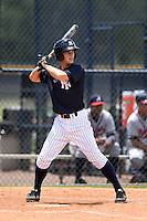 GCL Yankees 2 shortstop Tyler Palmer (31) at bat during a game against the GCL Braves on June 23, 2014 at the Yankees Minor League Complex in Tampa, Florida.  GCL Yankees 2 defeated the GCL Braves 12-4.  (Mike Janes/Four Seam Images)