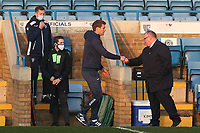 Exeter Manager, Matt Taylor touches fists with Gillingham Manager, Steve Evans at the final whistle during Gillingham vs Exeter City, Emirates FA Cup Football at the MEMS Priestfield Stadium on 28th November 2020