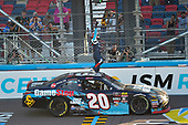 #20: Christopher Bell, Joe Gibbs Racing, Toyota Camry GameStop Just Cause 4 celebrates his win