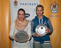 01-12-13,Netherlands, Almere,  National Tennis Center, Tennis, Winter Youth Circuit, Both winners 16 years Liza Lebedzeva and Tom Moonen<br /> Photo: Henk Koster