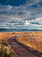 Wooden walkway to Mono Lake, California.