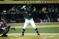 Jake Mueller (23) of the Wake Forest Demon Deacons at bat against the Illinois Fighting Illini at David F. Couch Ballpark on February 16, 2019 in  Winston-Salem, North Carolina.  The Fighting Illini defeated the Demon Deacons 5-2. (Brian Westerholt/Four Seam Images)