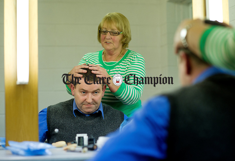 Kevin Glynn gets his make up done backstage before taking part in the Corofin Dramatic Society's production of What's For Pudding? at the Doonbeg Drama festival One Act Competition. Photograph by John Kelly.