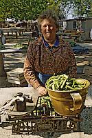 Croatie/Dalmatie/Dubrovnik: Sur le marché une agricultrice vend ses légumes<br /> PHOTO D'ARCHIVES // ARCHIVAL IMAGES<br /> YOUGOSLAVIE  1990