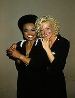 """Montreal (Qc) CANADA - August 8,1986 File Photo -<br /> <br /> Eartha Kitt (L) concert with Marjo (R) in Montreal.<br /> <br /> Eartha Mae Kitt (born on January 17, 1927)[1] is an American actress, singer, and cabaret star. She is known for her role as Catwoman in the 1960s TV series Batman, and for her 1953 Christmas song """"Santa Baby."""" Orson Welles once called her """"the most exciting woman in the world."""".<br /> <br /> Marjolène Morin (born 2 August 1953 in Montreal, Quebec), professionally known as Marjo, is a francophone Canadian singer-songwriter. After singing in two musicals of François Guy, Marjo joined the band Corbeau in 1979, two years after the group was started by Pierre Harel.<br /> <br /> Her solo career began shortly after Corbeau disbanded with the theme song for the film La Femme de l'hôtel which earned a Genie Award for Best Original Song in 1985. In 1986, her debut album Celle qui va sold more than 250 000 copies.<br /> <br /> -Photo (c)  Images Distribution"""