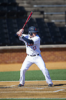 Joe Ogren (13) of the Bucknell Bison at bat against the Georgetown Hoyas at Wake Forest Baseball Park on February 14, 2015 in Winston-Salem, North Carolina.  The Hoyas defeated the Bison 8-5.  (Brian Westerholt/Four Seam Images)