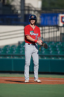 Fort Myers Miracle Aaron Whitefield (2) leads off during a Florida State League game against the Lakeland Flying Tigers on August 3, 2019 at Publix Field at Joker Marchant Stadium in Lakeland, Florida.  Lakeland defeated Fort Myers 4-3.  (Mike Janes/Four Seam Images)