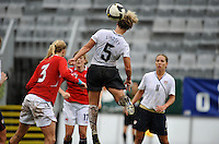 US National Team player Lori Lindsey heads the ball against Norway in the 2010 Algarve Cup game in Olhao, Portugal.