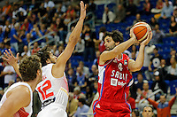 Spain's Sergio Llull  (L) vies with Serbia's Milos Teodosic during European championship group B basketball game between Spain and Serbia on 05. September 2015 in Berlin, Germany  (credit image & photo: Pedja Milosavljevic / STARSPORT)