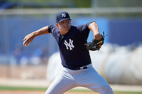 New York Yankees pitcher Greg Weissert (24) delivers a pitch during a minor league Spring Training game against the Toronto Blue Jays on March 30, 2017 at the Englebert Complex in Dunedin, Florida.  (Mike Janes/Four Seam Images)