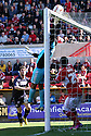 Wesley Foderingham of Swindon  tips over a header from Mark Roberts of Stevenage. Swindon Town v Stevenage - npower League 1 -  County Ground, Swindon - 20th April, 2013. © Kevin Coleman 2013. .  . . . .. . . . .. . . .  . . .  .