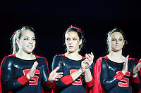 LOS ANGELES, CA - February 5, 2012:  Members of the Stanford women's gymnastics team prior to competition against the UCLA Bruins at the Wooden Center.   UCLA defeated Stanford, 197.250 - 196.450.