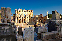 Picture of The library of Celsus. Images of the Roman ruins of Ephasus, Turkey Photos. Stock Picture & Photo art prints 3