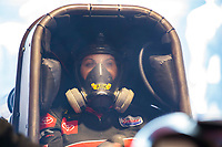 Jul 12, 2020; Clermont, Indiana, USA; NHRA funny car driver Alexis DeJoria during the E3 Spark Plugs Nationals at Lucas Oil Raceway. This is the first race back for NHRA since the start of the COVID-19 global pandemic. Mandatory Credit: Mark J. Rebilas-USA TODAY Sports