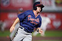 Danville Braves second baseman Greg Cullen (9) runs the bases during a game against the Johnson City Cardinals on July 28, 2018 at TVA Credit Union Ballpark in Johnson City, Tennessee.  Danville defeated Johnson City 7-4.  (Mike Janes/Four Seam Images)