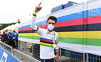 Picture by Simon Wilkinson/SWpix.com - 27/09/2020 - Cycling - UCI 2020 Road World Championships IMOLA - EMILIA-ROMAGNA ITALY - Road Race Elite Men<br /> FRANCE Julian Alaphilippe WINS - SANTINI