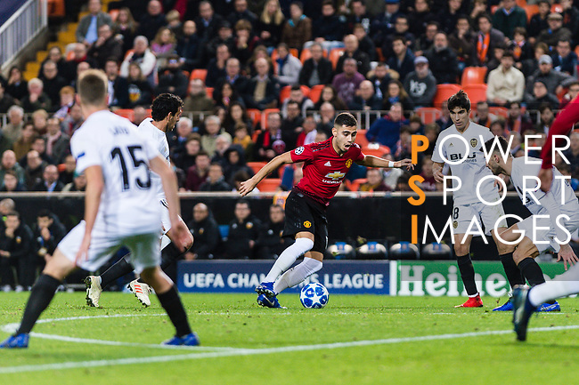 Andreas Pereira of Manchester United (C) in action during the UEFA Champions League 2018-19 match between Valencia CF and Manchester United at Estadio de Mestalla on December 12 2018 in Valencia, Spain. Photo by Maria Jose Segovia Carmona / Power Sport Images