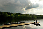 A boat docks after competing in their race during the 68th Dad Vail Regatta on the Schuylkill River in Philadelphia, Pennsylvania on May 13, 2006.........