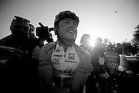 Milan-San Remo 2012.raceday.winner Simon Gerrans happily on his way to the podium