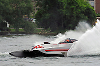 "13-14 June, 2009, APBA Inboards, Walled Lake, Novi, MI. USA.Mark Burghardt, E-726 ""X-Ray"", 5 Litre hydroplane.©F. Peirce Williams 2009 USA.F.Peirce Williams.photography.ref: RAW (.NEF) File Available"