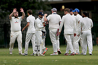 Hornchurch Athletic players celebrate taking the first Barking wicket during Barking CC (batting) vs Hornchurch Athletic CC, Hamro Foundation Essex League Cricket at Mayesbrook Park on 31st July 2021