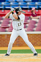 Stephen Schoettmer #13 of the Wake Forest Demon Deacons at bat against the Florida State Seminoles in the completion of the suspended game from March 23rd at Wake Forest Baseball Park on March 24, 2012 in Winston-Salem, North Carolina.  The Seminoles defeated the Demon Deacons 5-4 in 11 innings.  (Brian Westerholt/Four Seam Images)