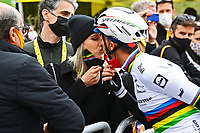 July 13th 2021, Saint-Gaudens, Haute-Garonne, France: ALAPHILIPPE Julian (FRA) of DECEUNINCK - QUICK-STEP and Marion Rousse during stage 16 of the 108th edition of the 2021 Tour de France cycling race, a stage of 169 kms between El Pas de la Casa and Saint-Gaudens.
