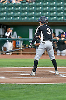 Jose Gomez (3) of the Grand Junction Rockies at bat against the Ogden Raptors in Pioneer League action at Lindquist Field on August 26, 2016 in Ogden, Utah. The Raptors defeated the Rockies 6-5. (Stephen Smith/Four Seam Images)