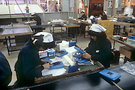 October, 1980. Tokyo, Japan. At Bandai, an  electronics and toy factory in Tokyo, the workers are assembling products.