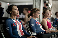 Coryn Rivera (USA/DSM) waiting for the final results backstage<br /> <br /> Mixed Relay TTT <br /> Team Time Trial from Knokke-Heist to Bruges (44.5km)<br /> <br /> UCI Road World Championships - Flanders Belgium 2021<br /> <br /> ©kramon