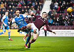 Hearts v St Johnstone…03.02.18…  Tynecastle…  SPFL<br />Chris Kane's shot is deflected over by John Souttar<br />Picture by Graeme Hart. <br />Copyright Perthshire Picture Agency<br />Tel: 01738 623350  Mobile: 07990 594431