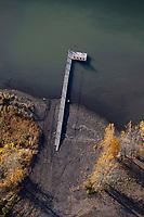 aerial photograph of the dock at Domain Du Fleuve winery and vineyards at the Saint Lawrence River in Varennes, near Montreal, Quebec, Canada | photographie aérienne du quai du Domaine Du Fleuve et des vignobles sur le fleuve Saint-Laurent à Varennes, près de Montréal, Québec, Canada