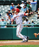 Harrisburg Senators infielder Justin Bloxon (9) during game against the Trenton Thunder at ARM & HAMMER Park on July 31, 2013 in Trenton, NJ.  Harrisburg defeated Trenton 5-3.  (Tomasso DeRosa/Four Seam Images)