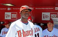 Apr. 6, 2009; Phoenix, AZ, USA; Arizona Diamondbacks outfielder Justin Upton against the Colorado Rockies during opening day 2009 at Chase Field. Mandatory Credit: Mark J. Rebilas-