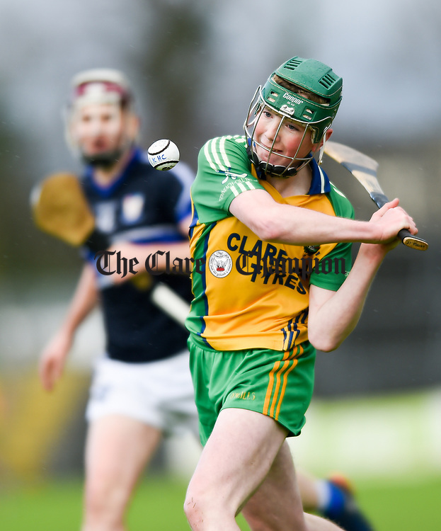 Jason Grifffin of Inagh-Kilnamona in action against Kilmaley during their Minor A county final at Cusack Park. Photograph by John Kelly.