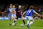Andres Iniesta of FC Barcelona (C) in action against Asier Illarramendi Andonegi of Real Sociedad (L) during the La Liga match between Barcelona and Real Sociedad at Camp Nou on May 20, 2018 in Barcelona, Spain. Photo by Vicens Gimenez / Power Sport Images