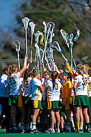14 April 2010: University of Vermont Lady Catamounts show spirit during a game against the Le Moyne College Dolphins at Moulton Winder Field in Burlington, Vermont. The Lady Cats defeated the visiting Dolphins 13-9. Mandatory Photo Credit: Ed Wolfstein Photo
