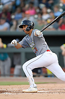 Designated hitter Mark Vientos (13) of the Columbia Fireflies, playing as the Chicharrones de Columbia, bats bats in a game against the Charleston RiverDogs on Friday, July 12, 2019 at Segra Park in Columbia, South Carolina. The RiverDogs won, 4-3 in 10 innings. (Tom Priddy/Four Seam Images)