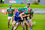 Crotta's Jeaic McKenna under pressure from Eric Leen of St Brendan's in the County Senior Hurling Championship quarter final