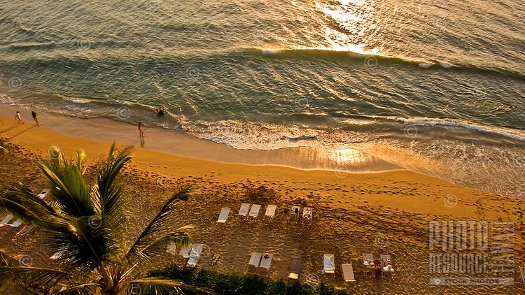 A view of Kaanapali Beach at dusk from Kaanapali Shores Hotel