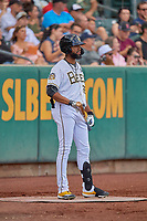 Jo Adell (26) of the Salt Lake Bees comes up to bat against the New Orleans Baby Cakes at Smith's Ballpark on August 4, 2019 in Salt Lake City, Utah. The Baby Cakes defeated the Bees 8-2. (Stephen Smith/Four Seam Images)