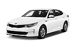 2016 KIA Optima LX Turbo 4 Door Sedan angular front stock photos of front three quarter view