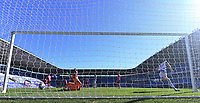 5th April 2021; Madejski Stadium, Reading, Berkshire, England; English Football League Championship Football, Reading versus Derby County; George Puscas of Reading scores his goal for 2-0 in the 57th minute past keeper Marshall of Derby